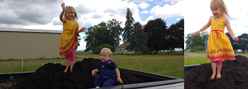 Soilsmith: children on compost in truck